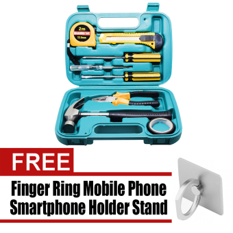Wawawei 9pcs Professional Hardware Tools Set Accessory Repair HomeTool-Box Kits Case with Free Finger ring mobile phone smartphoneholder stand