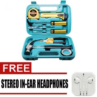 Wawawei 9pcs Professional Hardware Tools Set Accessory Repair HomeTool-Box Kits Case with free Stereo In-Ear Headphones for iphone(White)
