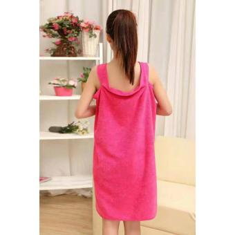 Wearable Fast Drying Towel Bathrobe Bath Dress (Pink)