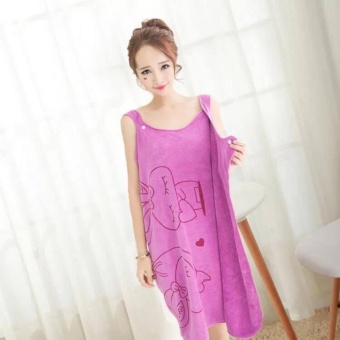 Wearable Fast Drying Towel Bathrobe Bath Dress (Purple)
