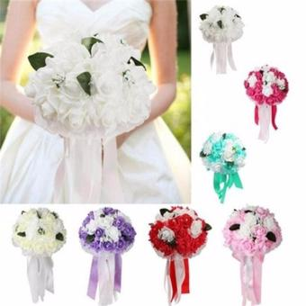 Wedding Bouquet Foam Roses Wedding Bouquet Bridal Bouquet LaceDecoration - intl