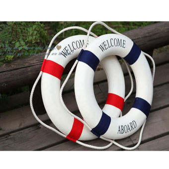 Welcome Red Nautical Wall Decor Ship Boat Ring Life Buoy Preserver 35cm - 2