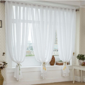 White Faux Linen Yarn Curtain Tulle Sheer Curtains Net Curtain Window Panel for Living room Bedroom Kitchen Balcony - intl Price Philippines