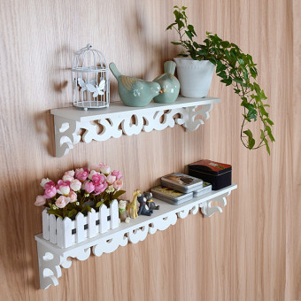 White Wooden Wall Shelf Display Hanging Rack Storage Goods Holder Home Decor - intl Price Philippines