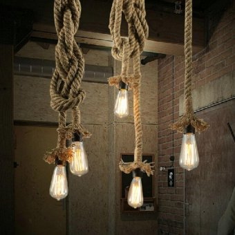 Wholesale Modern Minimalist Rope Pendant Lights Loft CreativePersonality Industrial Pendant Lamps for Living Room Decoration 1m1 light