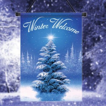 """Winter Welcome Tree Garden Flag Holiday Christmas Snow Decorative Banner 12.5""""x18"""" Blue - intl"""