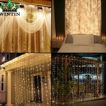 Wintin 4.5M x 3M 300 LED Icicle String Lights Christmas xmas Fairy Lights Outdoor Home For Wedding/Party/Curtain/Garden Decoration - intl(warm light)