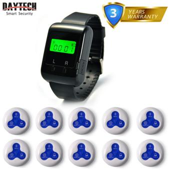 Wireless Patient Calling System Waiter Nurse Service calling PagerFor Restaurant Hospital Hotel Bar 1 pc Wearable Watch Receiver and10 pcs Waterproof Call Buttons