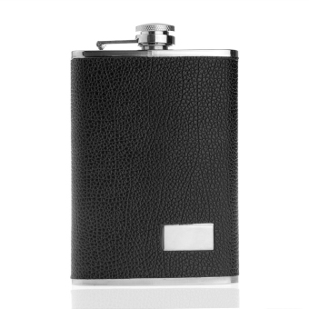 WiseBuy 9oz Stainless Steel Alcohol Drink Liquor Hip Flask Pocket Leather Black