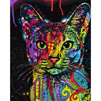 With Frame Abstract Colorful Cat Animals DIY Painting By NumbersHand Painted Oil Painting For Wall Art Picture Home Decoration -intl