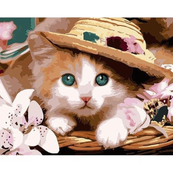 With Frame Cat Diy Digital Oil Painting By Numbers Modern Wall ArtCanvas Handpainted Acrylic Painting For Home Decors - intl