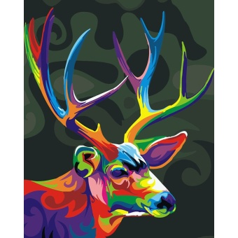 With Frame Christmas Colorful Deer Animals DIY Painting By Numbers Modern Home Wall Art Unique Gift For Home Decoration 40x50cm - intl