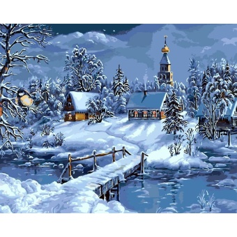 With Frame Christmas Snow Landscape DIY Painting By Numbers AcrylicPaint Wall Art Unique Gift For Home Decor Artwork 40x50cm - intl