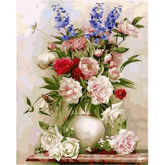 With Frame Europe Flower Diy Digital Painting By Numbers Wall ArtUnique Gift Hand Painted Oil Painting For Home Wall Artwork - intl