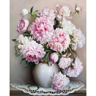 With Frame Europe Pink White Flower DIY Painting By Numbers UniqueGift Acrylic Paint By Numbers Hand Painted Wall Art Picture - intl