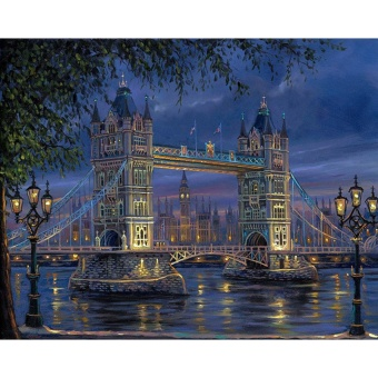 With Frame London Bridge Landscape DIY Painting By Numbers Wall Art Picture Hand Painted For Home Decoration 40x50cm Artwork - intl