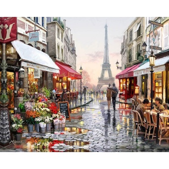 With Frame Paris Flower Street Landscape DIY Painting By Numbers Modern Wall Art Hand Painted Oil Painting For Home Decor 40x50cm - intl
