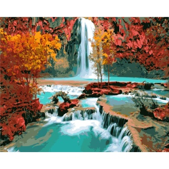 With Frame River Landscape DIY Painting By Numbers Modern Wall ArtCanvas Hand Painted Home Wall Decor For Living Room Artwork - intl