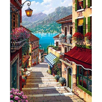 With Frame Romantic Town DIY Painting By Numbers Kits LandscapeModern Wall Art Canvas Painting For Home Decor 40x50cm Artworks -intl