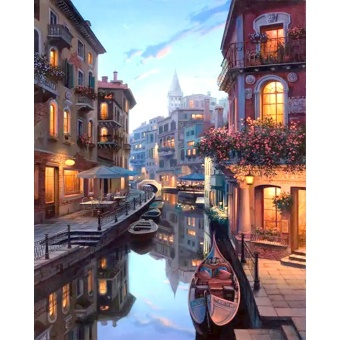 With Frame Venice Night Landscape DIY Painting By Numbers KitsColoring Painting By Numbers Home Wall Art Decor For Unique Gift -intl