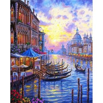 With Frame Venice Sunset Seascape DIY Painting By Numbers ArtCanvas Painting Modern Home Wall Decor Unique Gift For Artworks -intl