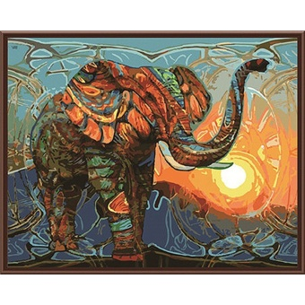 With Frame Vintage Painting Elephant DIY Painting By Numbers KitsAcrylic Paint On Canvas Home Wall Art Picture Artwork 40x50cm -intl