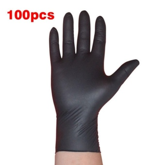 WOND 100PCS/SET Cleaning Disposable Mechanic Glove Black Nitrile Anti-Static Gloves Black - intl