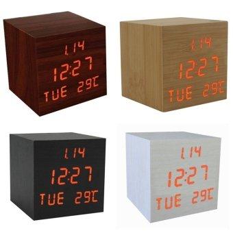 Wood Retro Red LED USB Digital Desk Alarm Clock