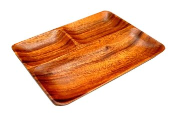 Wooden 3-compartment Rectangular Plate Tray (Brown)