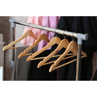 Wooden Clothes Hangers with Non-slip Grooved Bar 10-Pack - 4