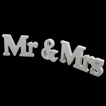 Wooden Mr and Mrs Letters Bridal Wedding ation Gift White - picture 2