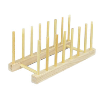 Wooden Plate Stand Wood Dish Rack Stand Display Holder Lids Holds 7Section Rack (Intl)