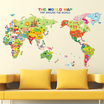 World Map English Letters Wall Decal Home Sticker - intl