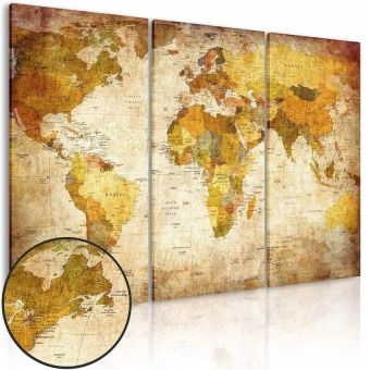 World Map Hanging On The Wall Canvas Triple Decor 45Cm X 90Cm Sizel - intl - 4