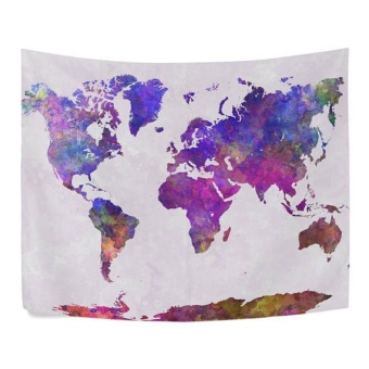 World Map Mandala Wall Hanging Tapestry Mat Bedspread Dorm LivingRoom Decor - intl
