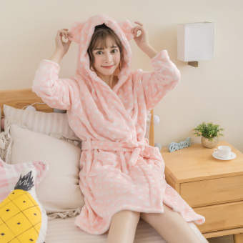 Wydz cute coral velvet student hooded robe flannel pajamas