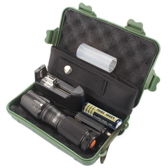 X800 Zoomable XML T6 LED Tactical Police Flashlight+18650 +Charger+Case - intl