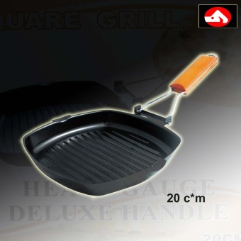 Xinmao Cookware Non-Stick Square Grill Pan 20*cm with Heavy Gauge Deluxe Handle (Brown/Black)
