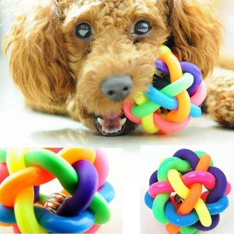 XKP Dog Puppy Pet Knotted Colorful Rubber Sound Ball Bell ChewingFunplaying Toy - intl
