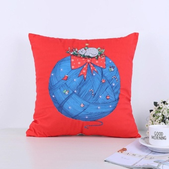Xmas Christmas Printing Dyeing Sofa Bed Home Decor Pillow Cover Cushion Cover - intl