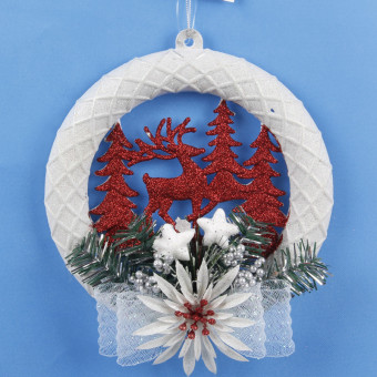 Xmas Tree Ornaments Elk White Christmas Garland Wreath Hanging Decoration Merry Xmas Decoration For Home New Year Navidad Natal - intl