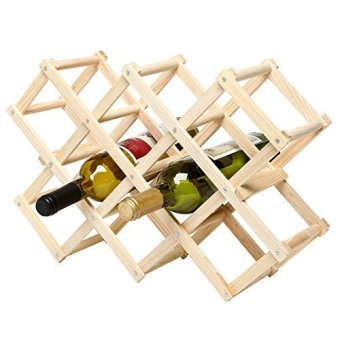 Y-9637 Foldable Wooden Wine Rack (Brown)