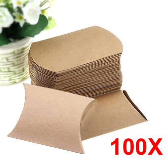 YBC 100Pcs Kraft Paper Pillow Candy Box Wedding Gift Party Supply