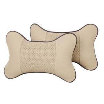 YBC 2Pcs Breathe Car Auto Seat Head Neck Rest Cushion Headrest Pillow Beige - intl