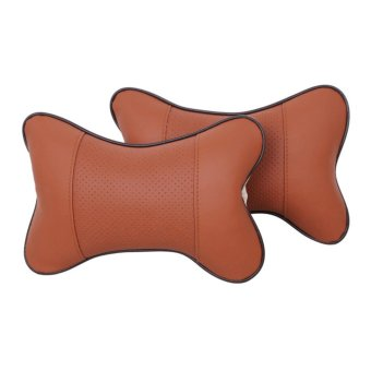 YBC 2Pcs Breathe Car Auto Seat Head Neck Rest Cushion Headrest Pillow Orange - intl
