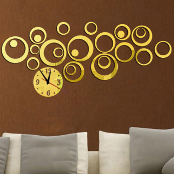 YBC 3D DIY Circle Acrylic Mirror Wall Clock Wall Decal Art Sticker Golden - Intl