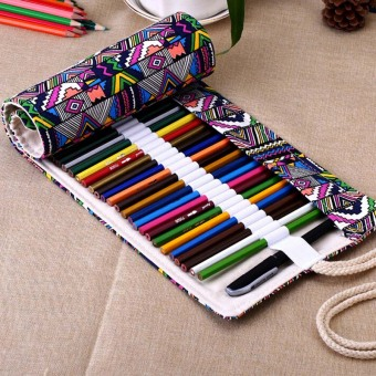 YBC 48 Holes Canvas Roll Wrap Pencil Bag Pen Case Holder