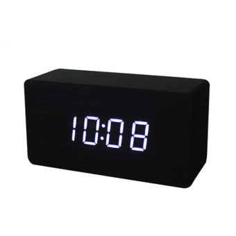YBC LED Office Desk Wooden Digital Alarm Clock(Black Bottom+WhiteWord) - Intl