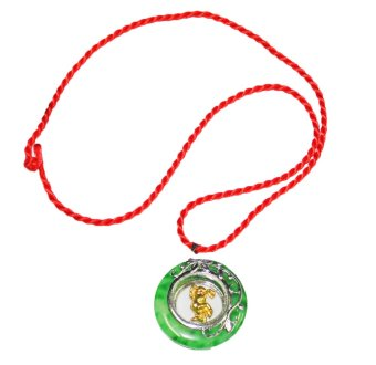 Year of the Ox Chinese Zodiac Amulet Jade Pendant Necklace (Gold)