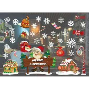 YingWei Christmas Window Stickers Wall Sticker Christmas SantaClaus Glass Windows Transparent Film Wall Stickers Shop Home DecalDecor #805 - intl